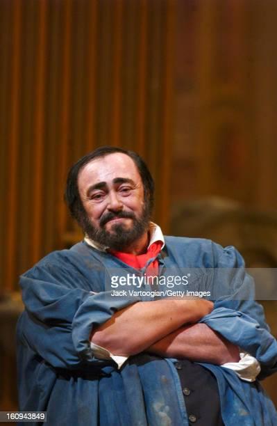Italian tenor Luciano Pavarotti in the final dress rehearsal of the Metropolitan Opera/Franco Zeffirelli production of Giacomo Puccini's 'Tosca' New...