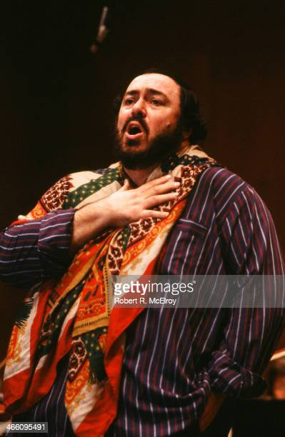 Italian tenor Luciano Pavarotti rehearses for an unspecified performance at Lincoln Center, January 22, 1979.