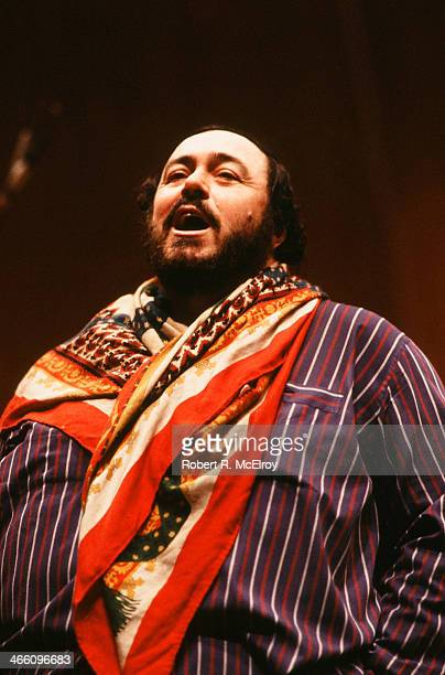 Italian tenor Luciano Pavarotti rehearses for an unspecified performance at Lincoln Center January 22 1979