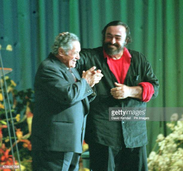 Italian tenor Luciano Pavarotti returns to the Llangollen Eisteddfod stage with his father Fernando