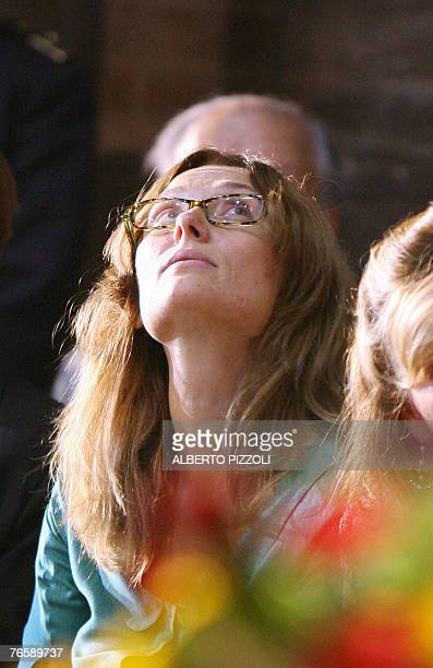 Italian tenor Luciano Pavarotti' widow Nicoletta Mantovani is pictured in Modena's Romanesque cathedral 08 September 2007 before the funeral mass in...