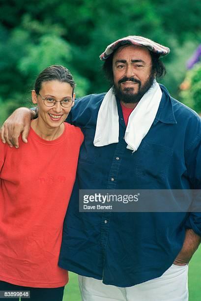 Italian tenor Luciano Pavarotti with his girlfriend Nicoletta Mantovani in London, 9th May 1997.