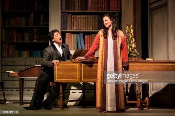 Italian tenor Vittorio Grigolo and American soprano Isabel Leonard perform during the final dress rehearsal prior to the season premiere of the...