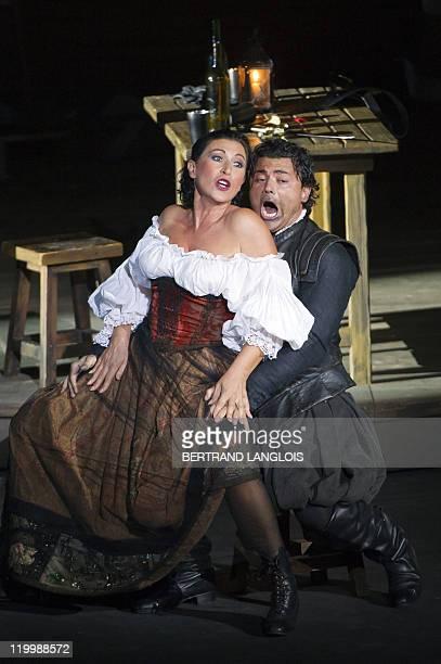 Italian tenor Vittorio Grigolo and french singer MarieAnge Todorovitch perform during the rehearsal of Italian Giuseppe Verdi opera 'Rigoletto'...