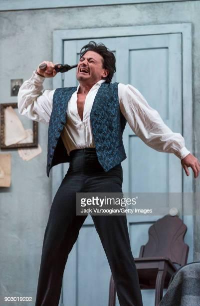 Italian tenor Vittorio Grigolo performs during the final dress rehearsal prior to the season premiere of the Metropolitan Opera/Sir Richard Eyre...