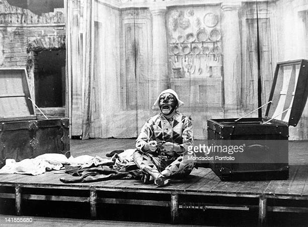Italian theatre actor Marcello Moretti playing Harlequin in the comedy 'Harlequin Servant of Two Masters' by Carlo Goldoni directed by Giorgio...