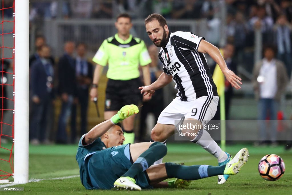Italian Tim Cup FInal Lazio v Juventus Thomas Strakosha of Lazio saving on Gonzalo Higuain of Juventus at Olimpico Stadium in Rome, Italy on May 17, 2017.
