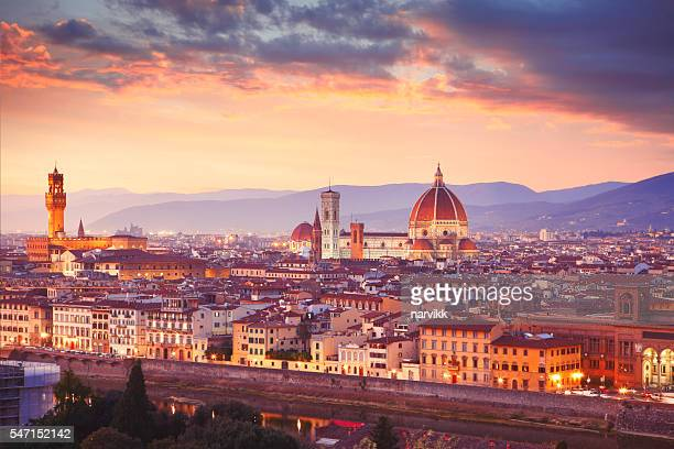 Italian town Florence by dusk