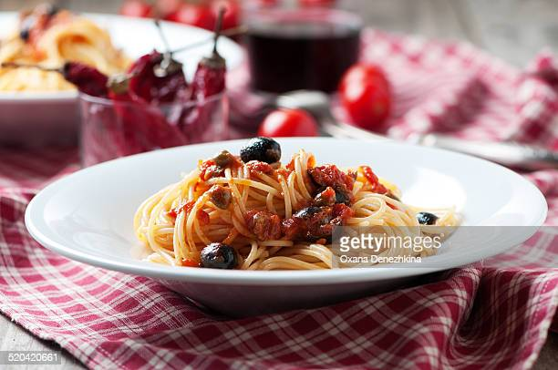 Italian traditional pasta alla puttanesca