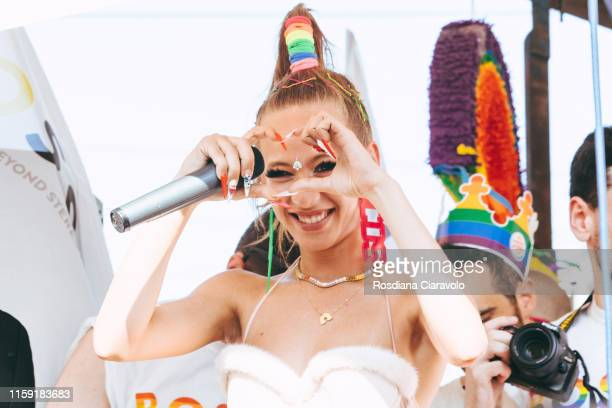 Italian Trapper Chadia Rodriguez performs on BOSSY track at the Gay Pride 2019 on June 29, 2019 in Milan, Italy.