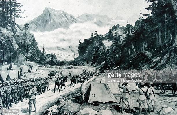 Italian troops gather to cross alpine mountains in world war one