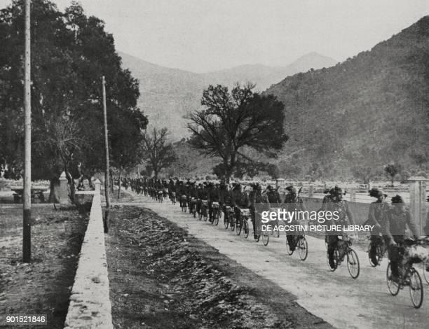 Italian troops on the roads in Corsica France World War II from L'Illustrazione Italiana Year LXIX No 49 December 6 1942