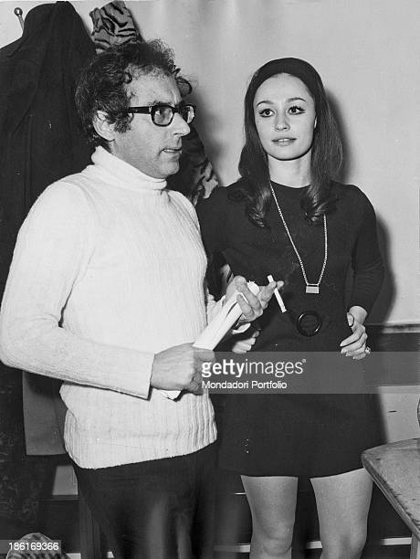 Italian TV host actress singer and showgirl Raffaella Carrà and Italian actor and mimic Oreste Lionello getting ready for broadcasting the game show...