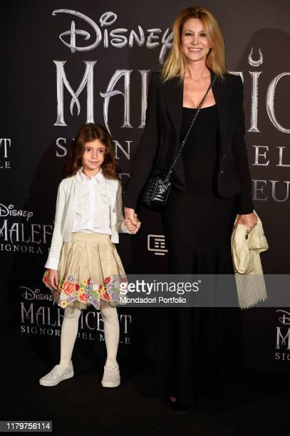 Italian tv host Adriana Volpe with her daughter during the European premiere of the Disney film Maleficent Lady of Evil at the Auditorium della...