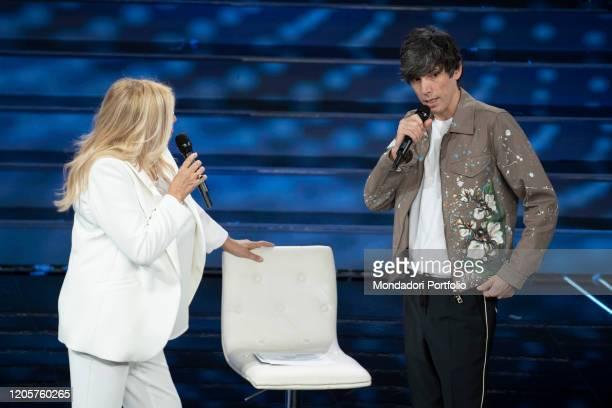 Italian tv host Mara Venier and the singer Bugo during the episode of Domenica In dedicated to 70th Sanremo Music Festival Sanremo February 9th 2020