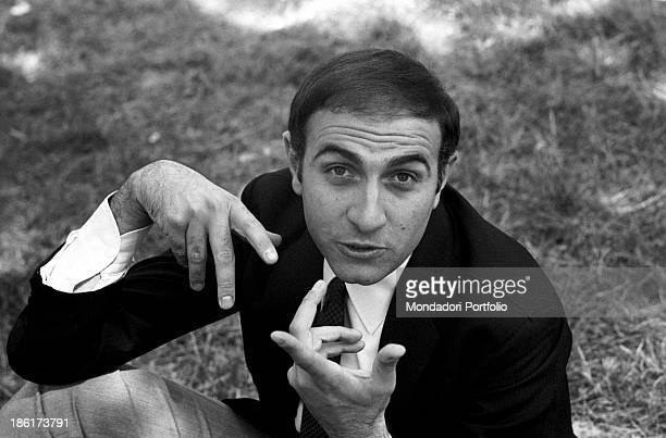 Italian TV host Pippo Baudo gesticulating 1967