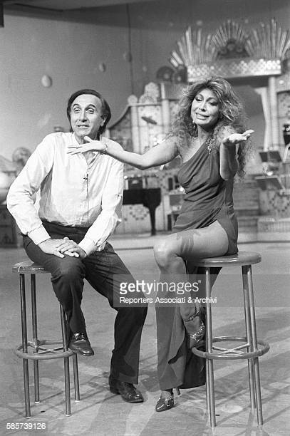 Italian TV host Pippo Baudo with Alida Chelli Italian singer and actress during the rehearsals for a TV show Italy 1975