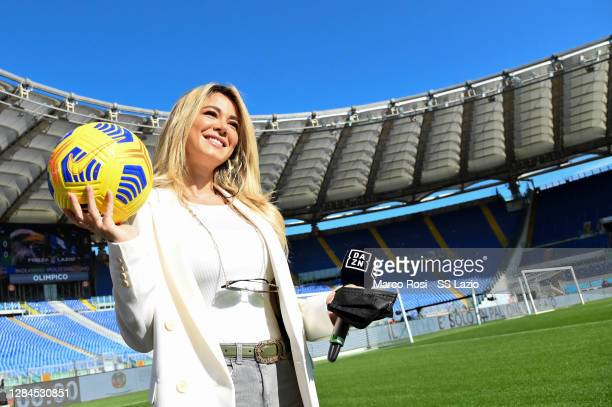 Italian TV Journalist Diletta Leotta poses with the new Nike Flight Hi-Vis ball before the Serie A match between SS Lazio and Juventus at Stadio...