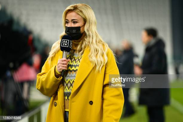 Italian TV Journalist of DAZN Diletta Leotta during the Serie A match between Juventus and Udinese Calcio at Allianz Stadium on January 3, 2021 in...