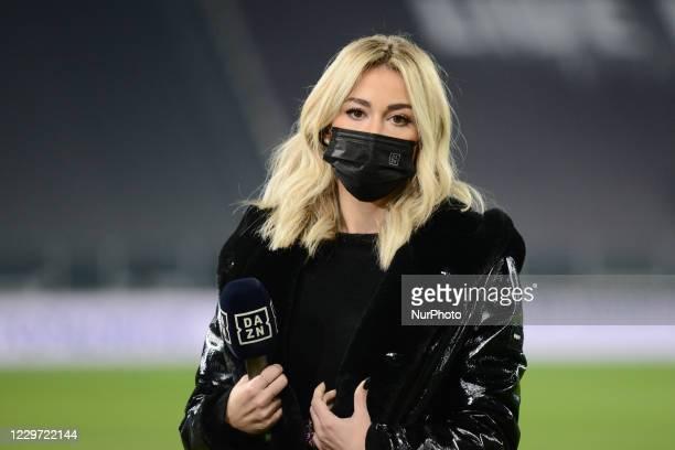 Italian TV Journalist of DAZN Diletta Leotta during the Serie A football match between Juventus FC and Cagliari Calcio at Allianz Stadium on november...
