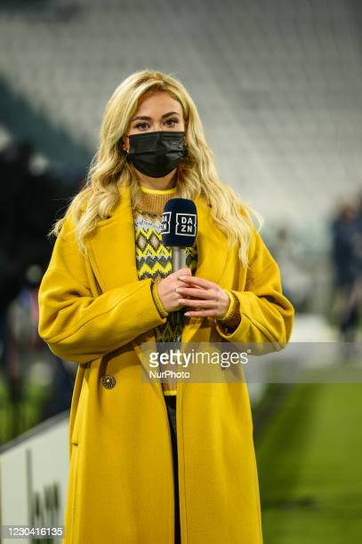 Italian TV Journalist of DAZN Diletta Leotta looks on during the Serie A match between Juventus and Udinese Calcio at Allianz Stadium on January 3,...