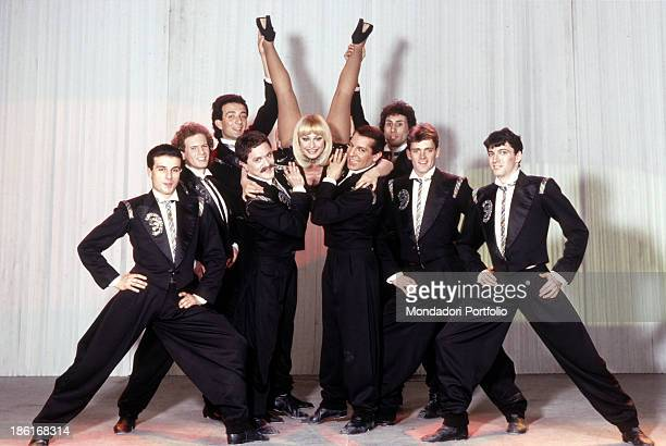 Italian TV presenter actress singer and showgirl Raffaella Carrà rehearsing a ballet with some dancers The host will make soon her début with the...