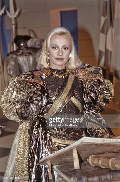 Italian TV presenter actress singer and showgirl Raffaella Carrà wearing a stage costume in the TV show Domenica In Rome 1986