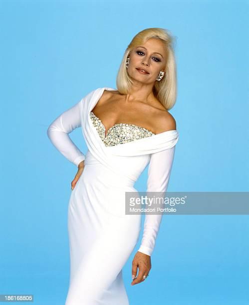 Italian TV presenter actress singer and showgirl Raffella Carrà posing before the shooting of the TV variety show Fantastico 12 Rome 1991