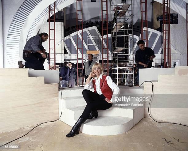 Italian TV presenter actress singer and showgirl Raffella Carrà posing in the on site studios of the TV show Carràmba Che sorpresa Rome 1995