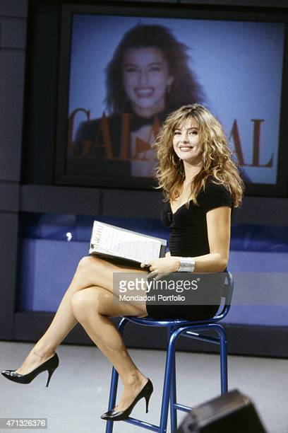 Italian TV presenter and actress Alba Parietti hosting the sport Tv show Galagoal Italy 1990