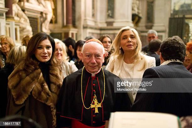 Italian TV presenter and actress Mara Venier Frenchborn Italian actress and producer Edwige Fenech and Italian acrdinal and arcibishop Francesco...