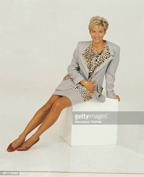 Italian TV presenter and author Maria De Filippi posing on a photographic set prepared to promote the TV broadcast Amici Rome 1992