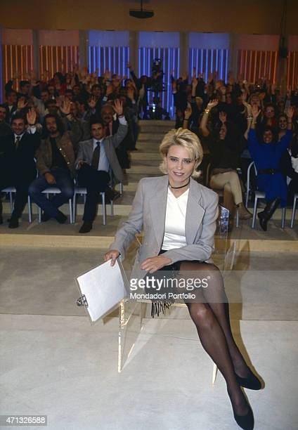 Italian TV presenter and author Maria De Filippi presenting the talk show Uomini e donne Italy 1996