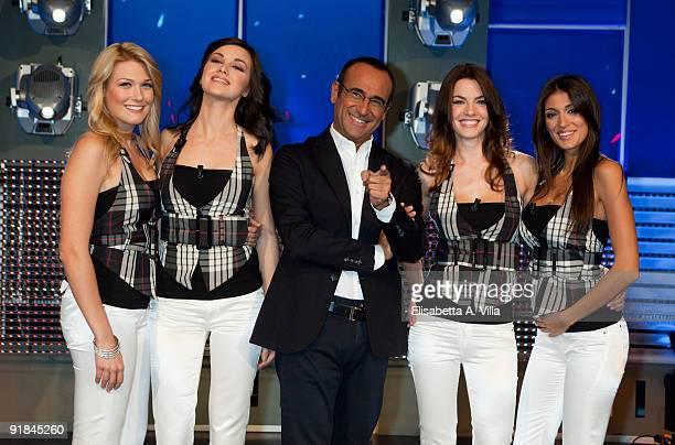 Italian TV presenter Carlo Conti with Benedetta Mazza Serena Gualinetti Enrica Pintore and Cristina Buccino attend L'Eredita at RAI Studios on...