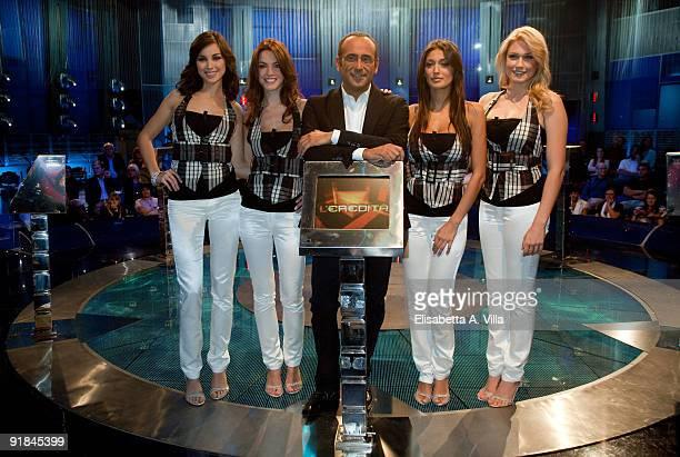Italian TV presenter Carlo Conti with Serena Gualinetti Enrica Pintore Cristina Buccino and Benedetta Mazza attend L'Eredita at RAI Studios on...