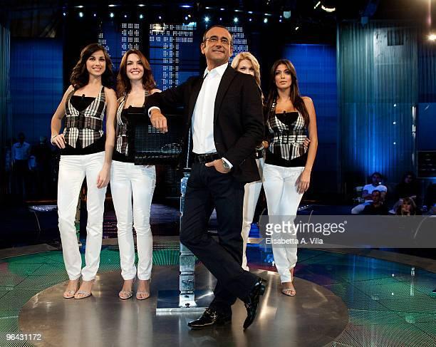 Italian TV presenter Carlo Conti with Serena Gualinetti Enrica Pintore Benedetta Mazza and Cristina Buccino attend L'Eredita at RAI Studios on...