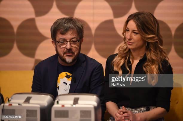 Italian tv presenter Mia Ceran and italian actor Rocco Tanica guest of tv program quotQuelli Che Il Calcioquot broadcast on air all Sunday on Rai 2...
