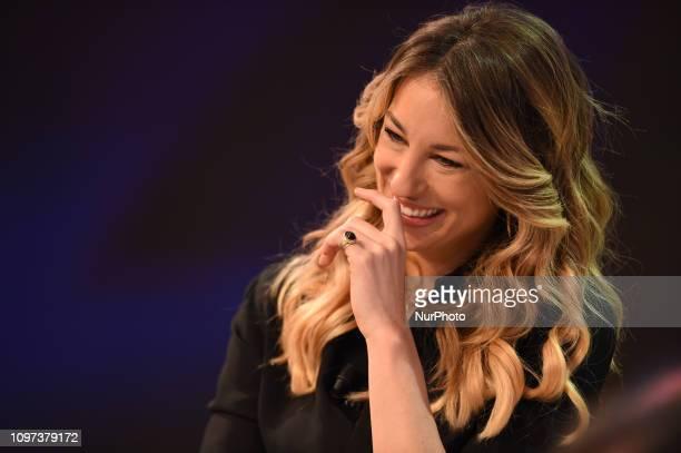 Italian tv presenter Mia Ceran guest of tv program quotQuelli Che Il Calcioquot broadcast on air all Sunday on Rai 2 channel of italian public tv in...