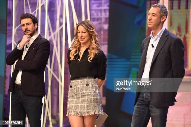 Italian tv presenter Mia Ceran Paolo Kessisoglu and Luca Bizzarri guest of tv program quotQuelli Che Il Calcioquot broadcast on air all Sunday on Rai...