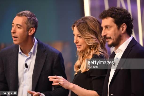 Italian tv presenter Mia CeranLuca Bizzarri and Paolo Kessisoglu guest of tv program quotQuelli Che Il Calcioquot broadcast on air all Sunday on Rai...