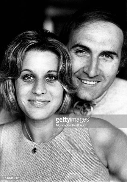 Italian TV presenter Pippo Baudo hugging his wife Angela Lippi Milan 1970