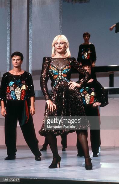 Italian TV presenter showgirl and singer Raffaella Carrà dancing in the TV show Ma che sera Italy 1978