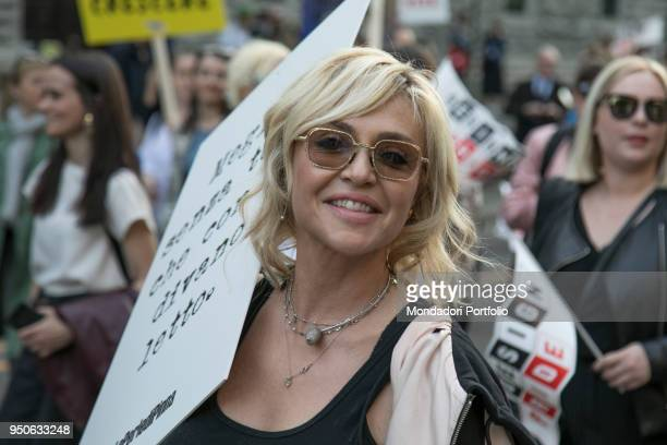 Italian tvhost Paola Barale at Design Pride Parade by Seletti with Paridevitale srl Communication PR from Castello Sforzesco to Piazza Affari to...