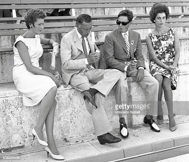 Italian tycoon Gianni Agnelli principal shareholder of Italian carmaker Fiat with his wife Princess Donna Marella Caracciolo di Castagneto his...