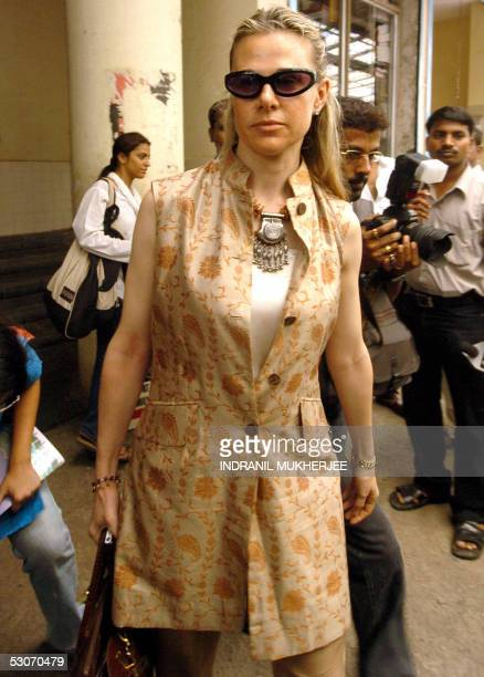 Italian Valentina Pedroni wife of Indian businessman Arun Nayar leaves the Bandra Family Court after a hearing in her divorce case in Mumbai 15 June...