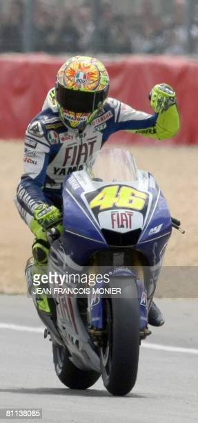 Italian Valentino Rossi rides his Yamaha during the French Moto GP on May, 18 2008 at Le Mans? racetrack, western France. Valentino Rossi won the...