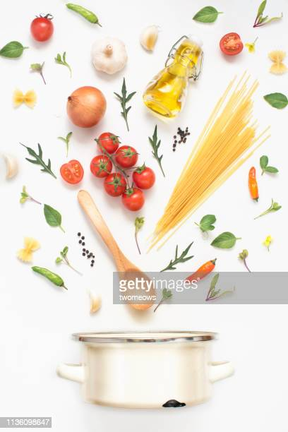 italian vegan food cuisine conceptual still life. - ingredient stock pictures, royalty-free photos & images