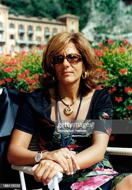 Italian Vice President of Confindustria Emma Marcegaglia sitting on a terrace at the Ambrosetti International Forum in Villa d'Este Cernobbio...