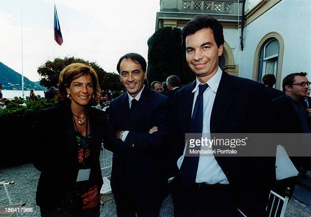 Italian Vice President of Confindustria Emma Marcegaglia smiling beside Italian entrepreneur and president of Technogym Nerio Alessandri and Italian...