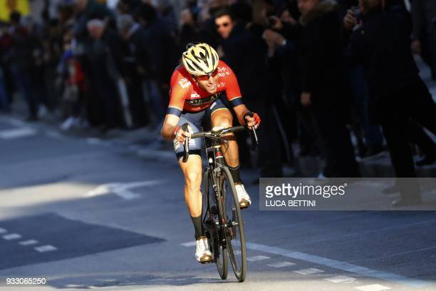 Italian Vincenzo Nibali of team Bahrain climbs the Poggio di San Remo during the 109th edition of the Milan San Remo cycling race on March 17 2018...